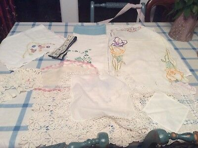 Bundle Of Vintage Doilies Table Mats Cloths Runners Lace Crochet Embroidery