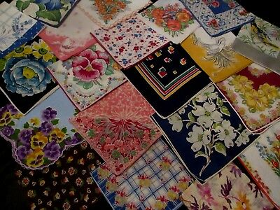 lot of 20 Vintage stunning floral hankies most 12 to 13 1/2""