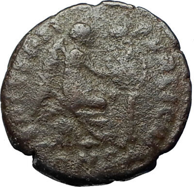 EUDOXIA Arcadius Wife 401AD Authentic Ancient Roman Coin VICTORY CHI-RHO i68196