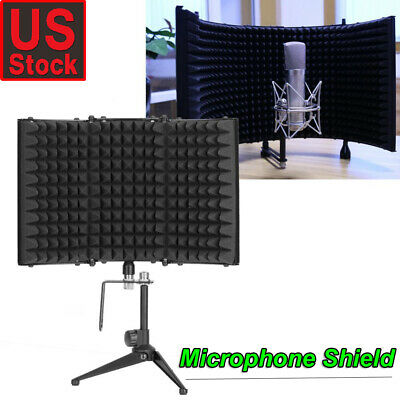 Studio Microphone Shield + Tripod Isolation Reflection Filter Screen Vocal Booth