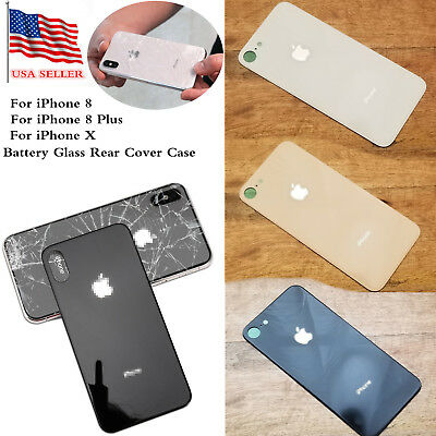 For iPhone X 8 Plus Replacement Battery Glass Cover Housing Back Door + Adhesive