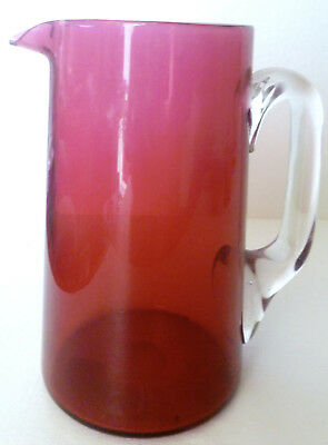 Fine Antique Cranberry Glass Tankard/Pitcher with Clear Handle