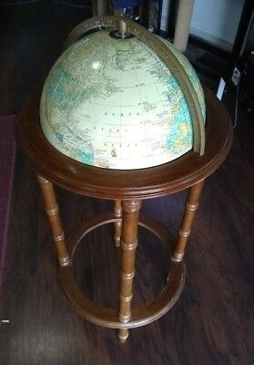 "VINTAGE CRAM'S 12"" IMPERIAL WORLD GLOBE ON WOOD STAND Powell"