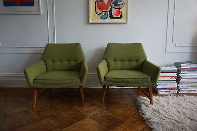 Magnificent Pair Of Upholstered Jens Risom Mid Century Modern Chairs Uwap Interior Chair Design Uwaporg