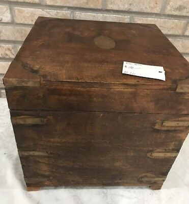 Vintage Wood Wine Crate Chest Case Box Brass Inlaid Corners