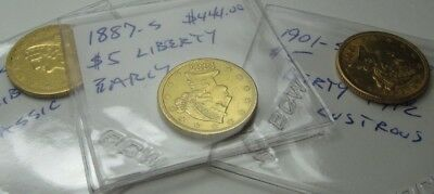3 Liberty $5 GOLD COINS 1887-S, 1879-S, 1901-S all three coins         103