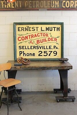 Vintage Antique Wood Advertising Sign Hand Painted Trade Contractor Builder Muth
