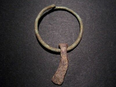 EXTREMELY RARE CELTIC BRONZE EARRING with AXE SHAPED LEAD PENDANT+++