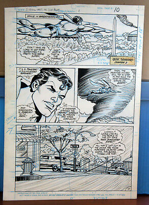 Original Comic Art Carmine Infantino Superman And Weather Wizard Page