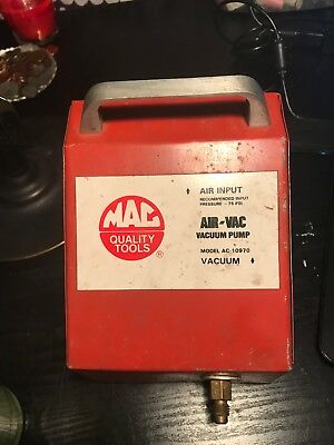 MAC tools air input, air-vac vacuum pump model ac-10970