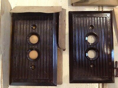 TWO (2) Antique/Vintage Bakelite Push Button Light Switch Covers New Old Stock!