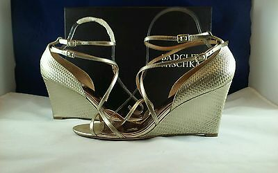 Badgley Mischka Wome MELANEY II PLTMET Leather Wedge Heels Sandal 10 M
