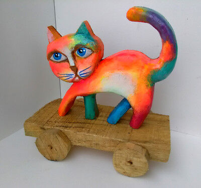 Original Hand made wood carved Cat Sculpture Decor Art Figurine FREE SHIPPING