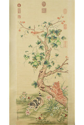 Fine Chinese Scroll Painting On Paper Signed Lang Shi Ning(1688-1766)