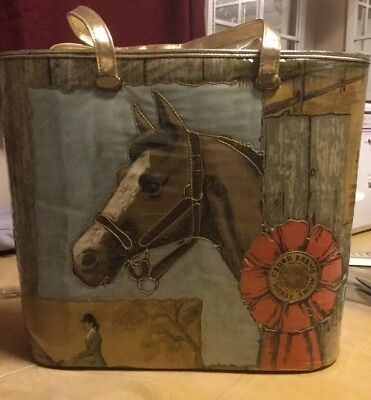 Vintage Delill purse- Equestrian Design (Stitched quilted & Clear Vinyl)