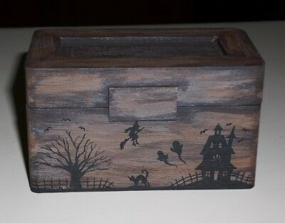Dollhouse Miniature Halloween Trunk Witch Cat OOAK Original Art 1:12 TMD