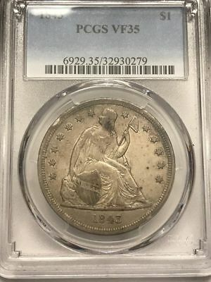 1843 Liberty Seated Dollar PCGS VF35 - Very Original