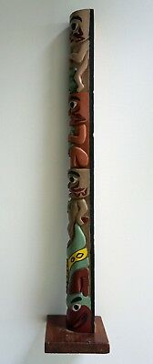 Gitxsan and Tsimshian First Nations Carved CedarTotem Pole by Pat McKay - 1950's