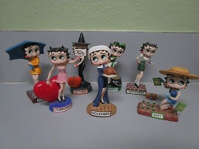 The Danbury Mint Calendar Figurine BETTY BOOP  Lot of 7 All Have Some Damage