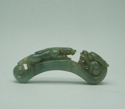 "Chinese Exquisite jadeite jade Hand carved brave troops""pixiu""statue"