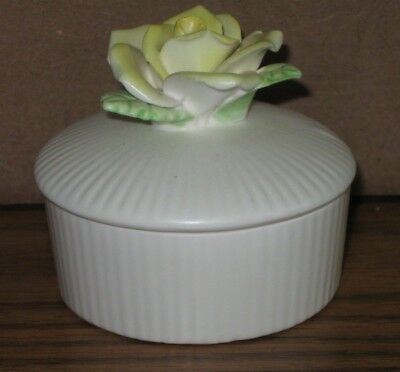 "FF Japan Yellow Rose Round Trinket Box Holder Decor Base is approx. 2-1/2"" x 1"""