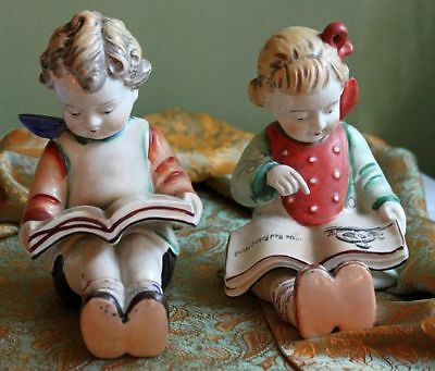 Porcelain Boy and Girl Reading Books-Occupied Japan