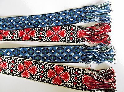 Vintage Hand Woven Sashes Belts Textile Art  (2) 37 inches long each
