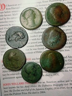 lot of 7 sestertius Roman coins, trajan, hadrian and others