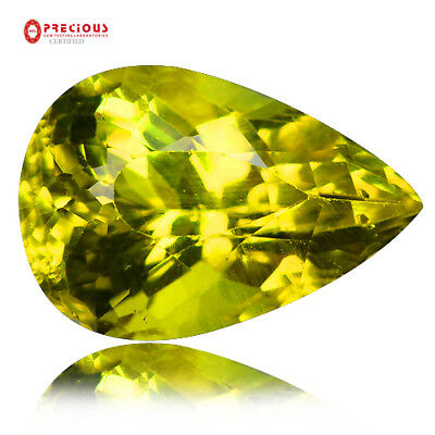 8.19 Ct Pgtl Certified ! Eye Clean Top Luster 100% Natural Canary Yellow Apatite