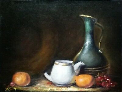 Original Oil Painting Still Life Realism Green Vase White Pot Fruit Z.Li FineArt