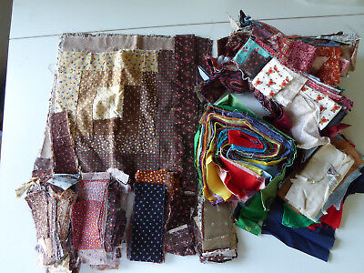 Lot of Vintage Log Cabin Quilt Pieces and Blocks