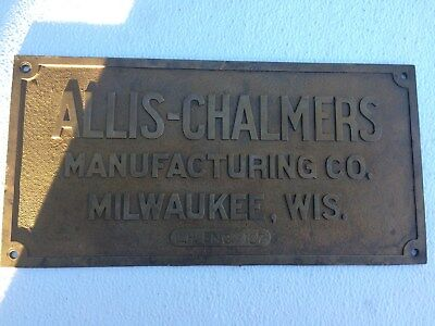 Vintage Allis Chalmers Brass Builders Plate,steam Engine? L.h. Engine