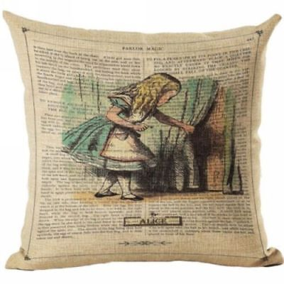 Alice in Wonderland Cotton Linen Throw Pillow Cushion Cover Case Vintage Style
