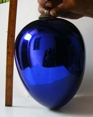 antique French unique  heavy dark blue beauty   big egg  kugel  original  cap