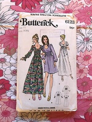 BUTTERICK 6123 sewing pattern Complete 1960s 1970s Vintage retro Junior Dress