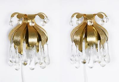 Rare Vintage Gilded Brass and Crystal Sconces by Palwa, Germany, 1970s