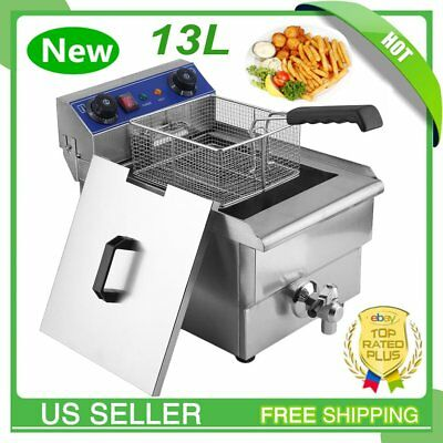 13L Commercial Restaurant Electric Deep Fryer Stainless Steel w/ Timer Drain VP