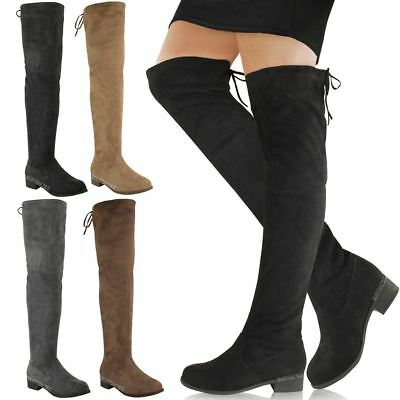 New Womens Ladies Low Heel Thigh High Over The Knee Stretch Riding Boots