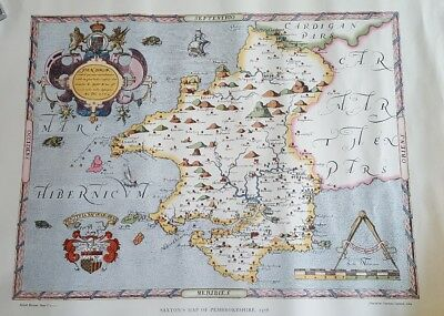 Saxton's map of Pembrokeshire, 1578 printed by Taylowe Limited 1964