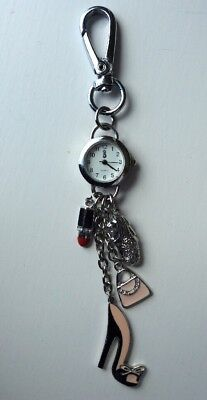 💕 Small Analogue Watch Clock Key Ring with Cute Charms Keyring 💕