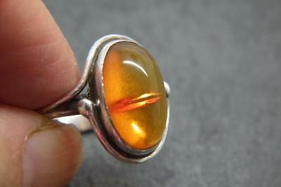 Antique Art Nouveau Sterling Silver Oval Amber Ring UK N/O