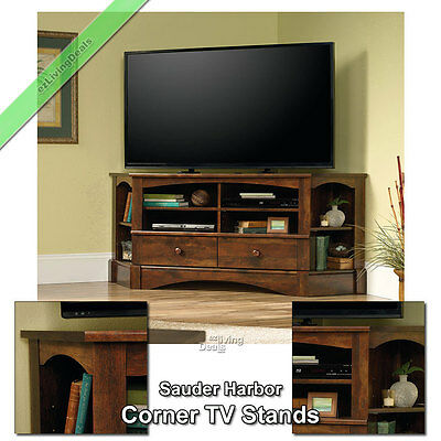 "Corner TV Stand Wood 60"" Console Table Stands for Flat Screens, Curado Cherry"