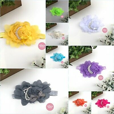 Baby Headband - Lace Flower Hair Band Baby NEWBORN TODDLER HAIR BAND CHRISTENING