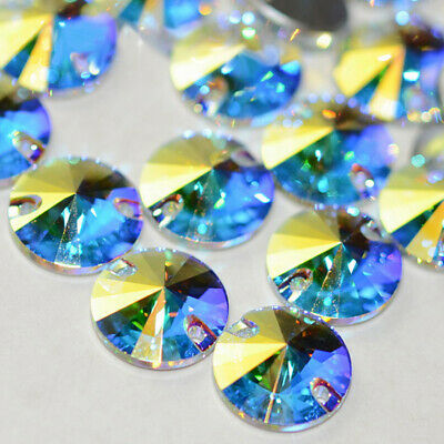 Rivoli Sew on Rhinestones Crystal AB Stones Glass for Clothes Sewing Applique
