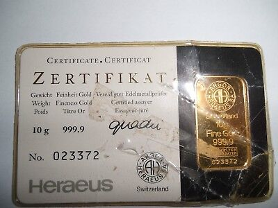 Goldbarren 10 Gramm Hereaus Kineb.