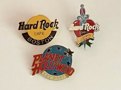 Lot Of 3 - Hard Rock Cafe - Planet Hollywood Pins