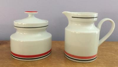 SALE! Georg Jensen Collection Midcentury Ceramic Sugar Bowl +Creamer W Germany