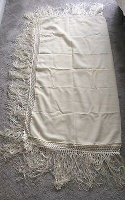 Vintage 1960 Cream Christening Shawl 49 X 47.50 Inches With 10 Inch Fringe