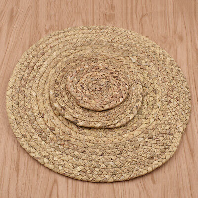 Round Straw Weave Placemat Natural Tablemat Pad Kitchen Decor Size 11/18/36cm