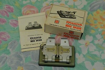 Dixons super 8 film splicer in original box with instruction sheet; little use.